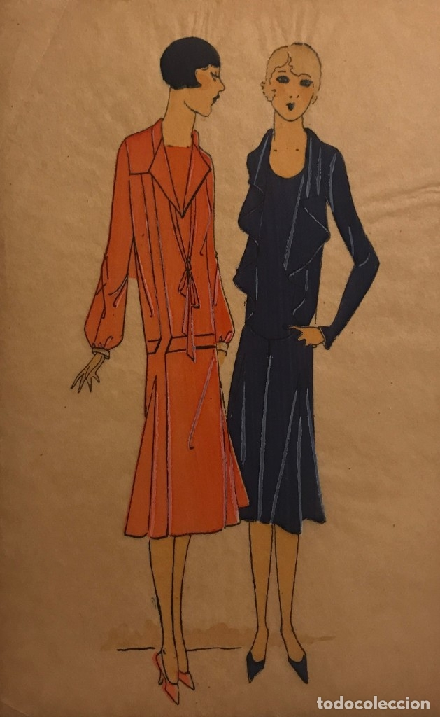 DIBUJO ORIGINAL SOBRE PAPEL CEBOLLA MARRÓN MODA AÑO 1925 APROX. 12,2X19,3 CM (Arte - Dibujos - Modernos siglo XIX)