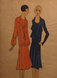 Dibujo original sobre papel cebolla marrón MODA Año 1925 aprox. 12,2x19,3 cm