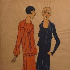 Arte: DIBUJO ORIGINAL SOBRE PAPEL CEBOLLA MARRÓN MODA AÑO 1925 APROX. 12,2X19,3 CM. Lote 149260702