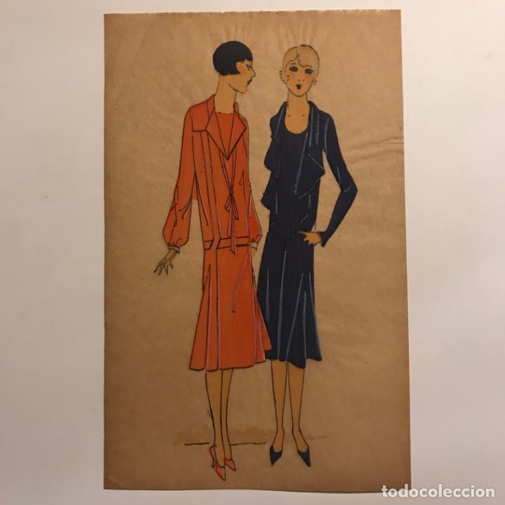 Arte: Dibujo original sobre papel cebolla marrón MODA Año 1925 aprox. 12,2x19,3 cm - Foto 2 - 149260702
