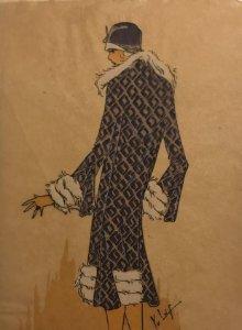 Dibujo original sobre papel cebolla marrón MODA Año 1925 aprox. 12x19,2 cm
