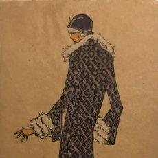 Arte: DIBUJO ORIGINAL SOBRE PAPEL CEBOLLA MARRÓN MODA AÑO 1925 APROX. 12X19,2 CM. Lote 149260798