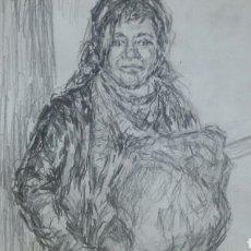 Arte: DIBUJO ORIGINAL CHICA CON BOLSA ORIGINAL. Lote 153595508