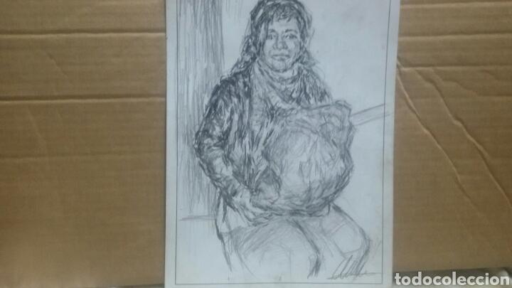 Arte: Dibujo original Chica con bolsa original - Foto 2 - 153595508