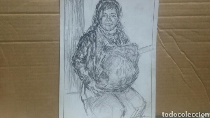 Arte: Dibujo original Chica con bolsa original - Foto 5 - 153595508