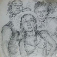Arte: DIBUJO ORIGINAL UN DIA EN LA PLAYA. Lote 153595856