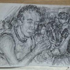 Arte: DIBUJO ORIGINAL TARDE DE MERIENDA. Lote 153596145