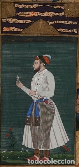 Arte: Página iluminada India. Siglo XVIII. Firmada - Foto 2 - 148151810