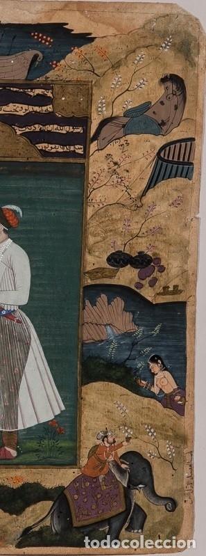 Arte: Página iluminada India. Siglo XVIII. Firmada - Foto 3 - 148151810