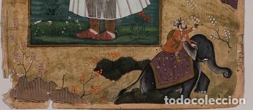 Arte: Página iluminada India. Siglo XVIII. Firmada - Foto 4 - 148151810