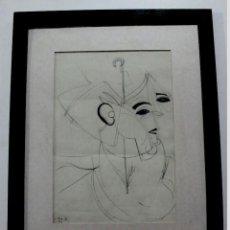 Arte: J.RIO G., DIBUJO ABSTRACTO A LAPICERO, FIRMADO Y FECHADO. Lote 153944154