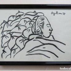 Arte: DIEGO RIVERA DIBUJO ORIGINAL A TINTA FIRMADO Y FECHADO, CARGADOR DE SOMBREROS DE 1937, 31X21 CMS. Lote 153946522