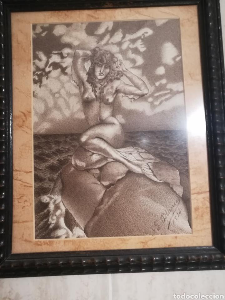 CUADRO CON SIRENA DE MAR. (Arte - Dibujos - Contemporáneos siglo XX)