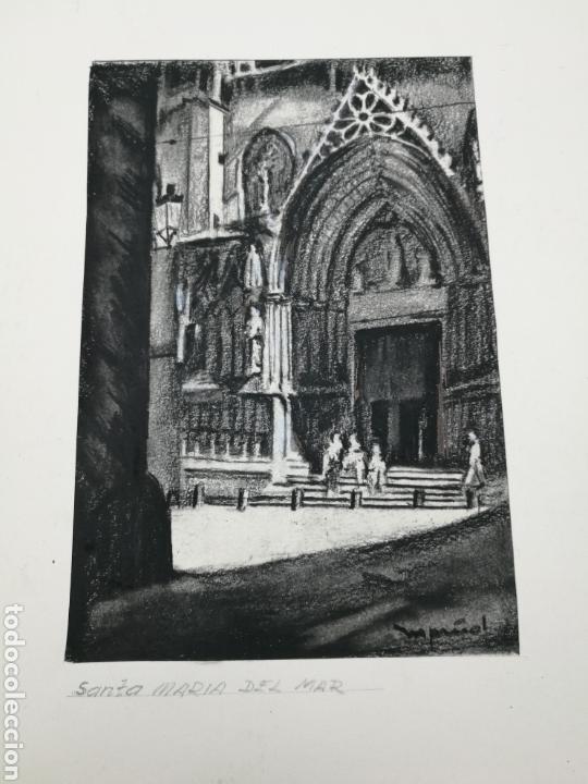 DIBUJO ORIGINAL M PIÑOL IGLESIA SANTA MARIA MAR (Arte - Dibujos - Contemporáneos siglo XX)