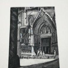 Arte: DIBUJO ORIGINAL M PIÑOL IGLESIA SANTA MARIA MAR. Lote 154338618