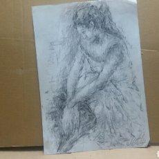 Arte: DIBUJO CHICA EN REPOSO ORIGINAL. Lote 154347622