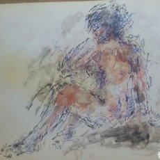 Arte: DIBUJO DESNUDO MUJER ORIGINAL. Lote 154349526