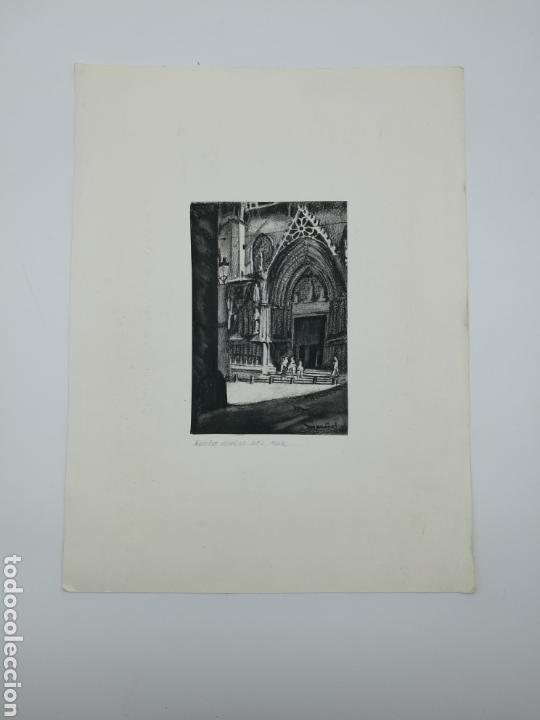 Arte: Dibujo original M Piñol iglesia Santa Maria Mar - Foto 2 - 154338618