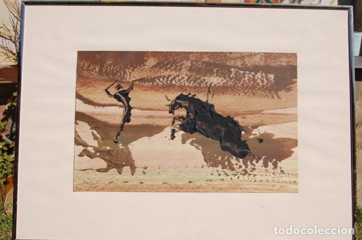 FIRMA DESCONOCIDA. TÉCNICA MIXTA PASTEL Y ÓLEO DE 46X29 ENMARCADA SIN CRISTAL EN 50,5X70. AÑO 77. (Arte - Dibujos - Contemporáneos siglo XX)