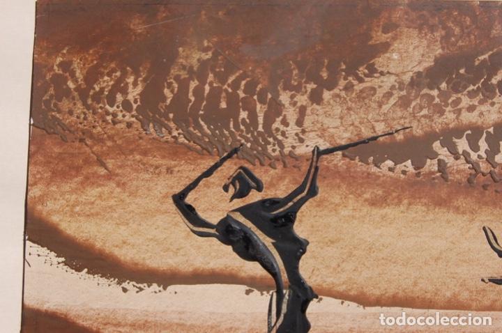 Arte: Firma desconocida. Técnica mixta pastel y óleo de 46x29 enmarcada sin cristal en 50,5x70. Año 77. - Foto 4 - 154401906