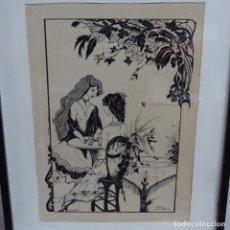 Arte: DIBUJO TINTA ILEGIBLE.1983.. Lote 154445742