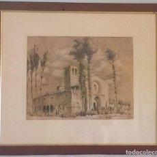 Arte: CUADRO DE JOSÉ BEULAS - TINTA SOBRE PAPEL - ERMITA DE NUESTRA SEÑORA DE SALAS (HUESCA) - JUNIO 1946. Lote 154448582