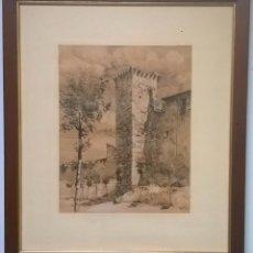 Arte: CUADRO DE JOSÉ BEULAS - TINTA SOBRE PAPEL - ANTIGUA MURALLA ROMANA DE HUESCA - JUNIO DE 1946. Lote 154449446