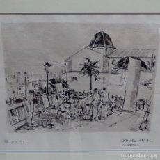 Arte: DIBUJO TINTA FIRMADO MAYOR 92.ARTISTAS EN EL CASTILLO.. Lote 154558298