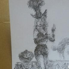 Arte: DIBUJO RETRATO ORIGINAL ADELE JOEGERS. Lote 154572362