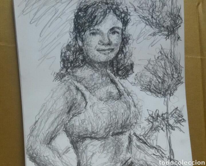 Arte: Dibujo retrato original Down Wells 1964(original ) - Foto 3 - 154572370