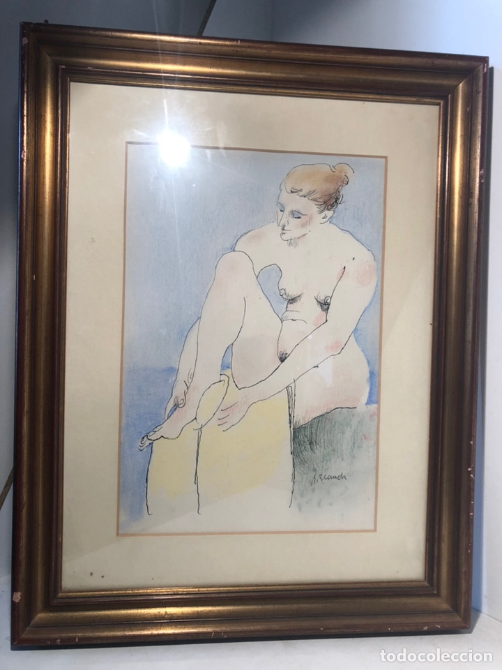 XAVIER BLANCH, TECNICA MIXTA SOBRE PAPEL. (Arte - Dibujos - Contemporáneos siglo XX)