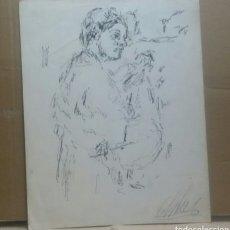 Arte: DIBUJO CHICA TAMBOLIRERA. Lote 154858834