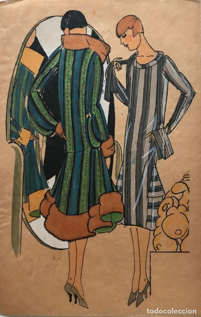 DIBUJO ORIGINAL SOBRE PAPEL CEBOLLA MARRÓN MODA AÑO 1925 APROX. MODA AÑOS 20-30. 12,4X19,4 CM (Arte - Dibujos - Modernos siglo XIX)