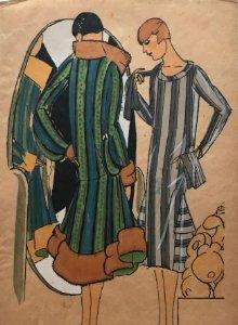 Dibujo original sobre papel cebolla marrón Moda Año 1925 aprox. moda años 20-30. 12,4x19,4 cm