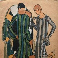 Arte: DIBUJO ORIGINAL SOBRE PAPEL CEBOLLA MARRÓN MODA AÑO 1925 APROX. MODA AÑOS 20-30. 12,4X19,4 CM. Lote 155019046