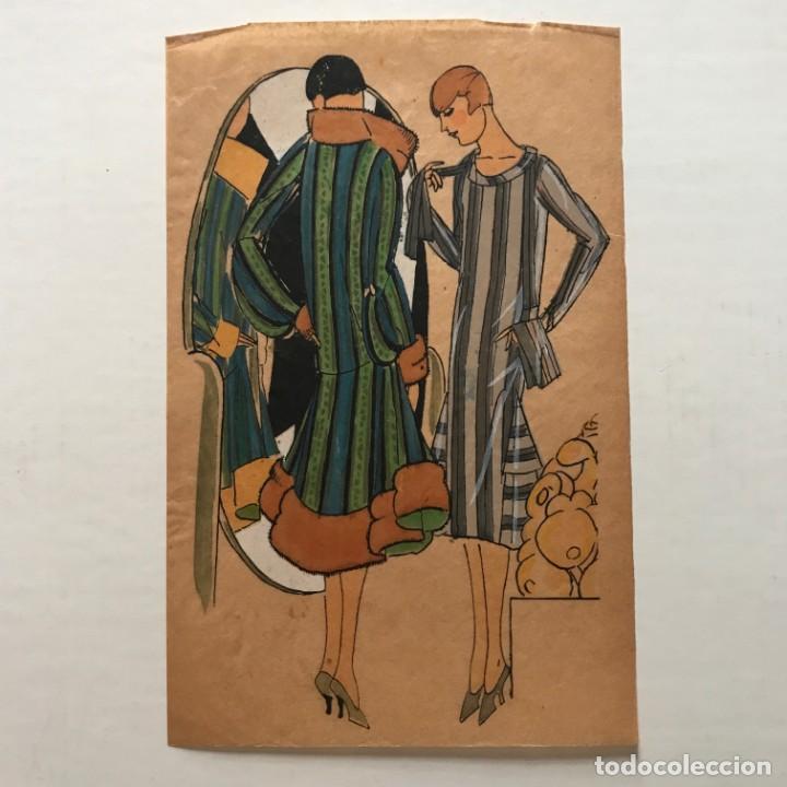 Arte: Dibujo original sobre papel cebolla marrón Moda Año 1925 aprox. moda años 20-30. 12,4x19,4 cm - Foto 2 - 155019046