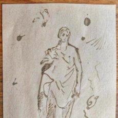 Arte: INTERESANTE DIBUJO APUNTE ORIGINAL A TINTA, RETRATO DE UNA VIRGEN.. Lote 155105474