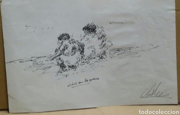 DIBUJO ORIGINAL NIÑOS EN LA ARENA (Arte - Dibujos - Contemporáneos siglo XX)