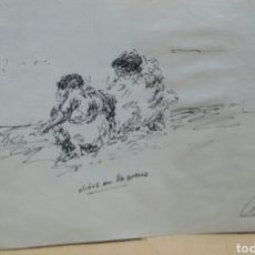 Arte: DIBUJO ORIGINAL NIÑOS EN LA ARENA. Lote 155189406