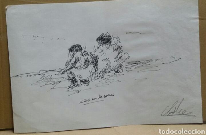 Arte: Dibujo original Niños en la arena - Foto 2 - 155189406