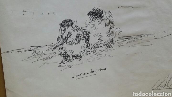 Arte: Dibujo original Niños en la arena - Foto 3 - 155189406