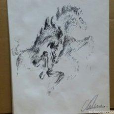 Arte: DIBUJO CABALLOS DE FUEGO ORIGINAL. Lote 155189458
