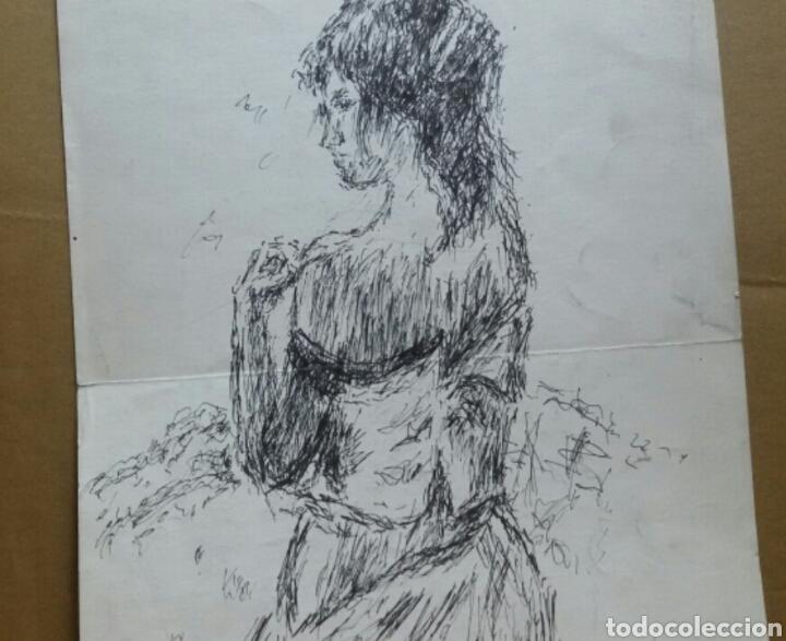 DIBUJO A MUJER INSINUANDO ORIGINAL/B RETRATOS MOMPOU. (Arte - Dibujos - Contemporáneos siglo XX)