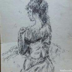 Arte: DIBUJO A MUJER INSINUANDO ORIGINAL/B RETRATOS MOMPOU.. Lote 155189502
