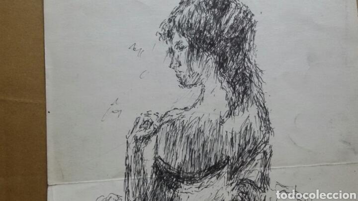 Arte: Dibujo A Mujer insinuando original/B retratos Mompou. - Foto 2 - 155189502