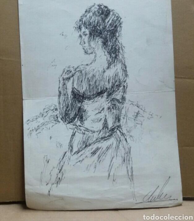 Arte: Dibujo A Mujer insinuando original/B retratos Mompou. - Foto 4 - 155189502