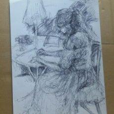 Arte: DIBUJO CHICA EN EL JARDÍN ORIGINAL. Lote 155334410