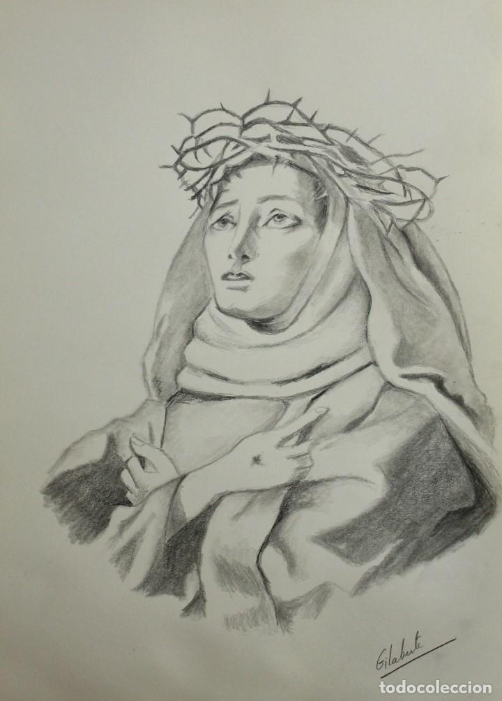 DOLOROSA CON ESPINAS OBRA DE GILABERTE (Arte - Dibujos - Contemporáneos siglo XX)