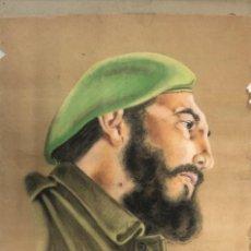 Arte: DIBUJO A CERA DE CERVIÑO DE FIDEL CASTRO. AÑO 1966.. Lote 155562038