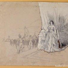 Arte: JOSEP LLUIS PELLICER FENYÉ- ILUSTRACIÓN O BOCETO ORIGINAL PARA LIBRO-( 1842-1901). Lote 155613782